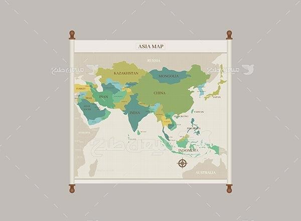 وکتور قاره آسیا و نقشه ایران