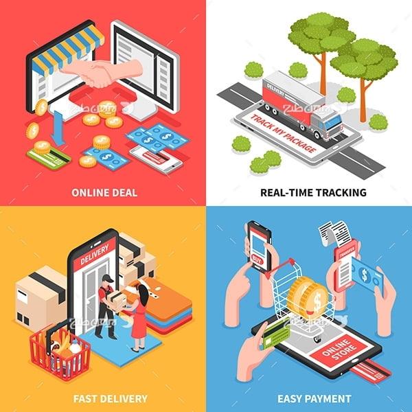 وکتور گرافیکی تجارت و حمل نقل و پست و کسبو کار آنلاین