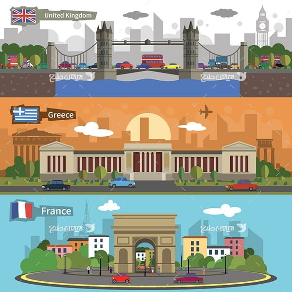 طرح وکتور مکان های دیدنی کشورهای مختلف