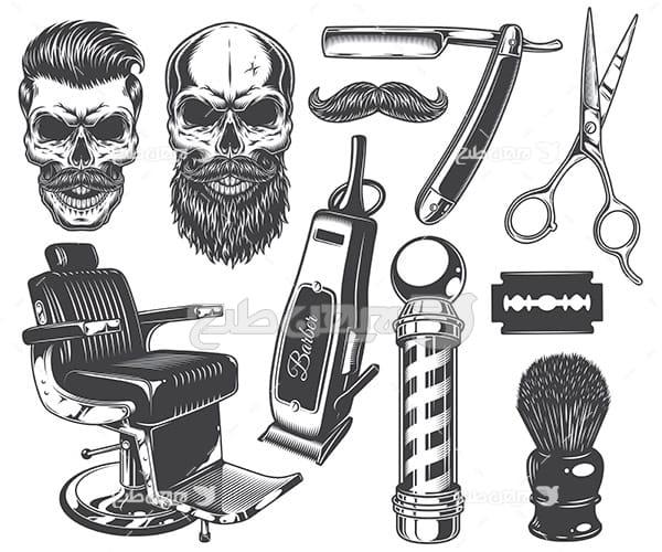 وکتور لوازم آرایشگاه مردانه