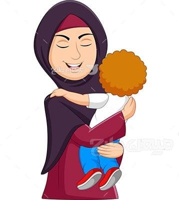 وکتور کاراکتر حجابآغوش مادر