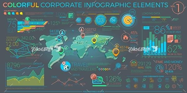 طرح وکتور گرافیکی اینفو و اطلاعات سه بعدی