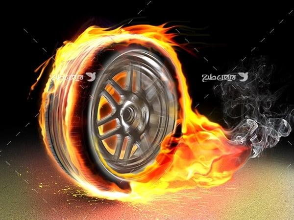 تصویر لاستیک و آتش