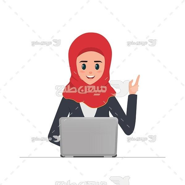 وکتور کاراکتر زن با حجاب و رایانه