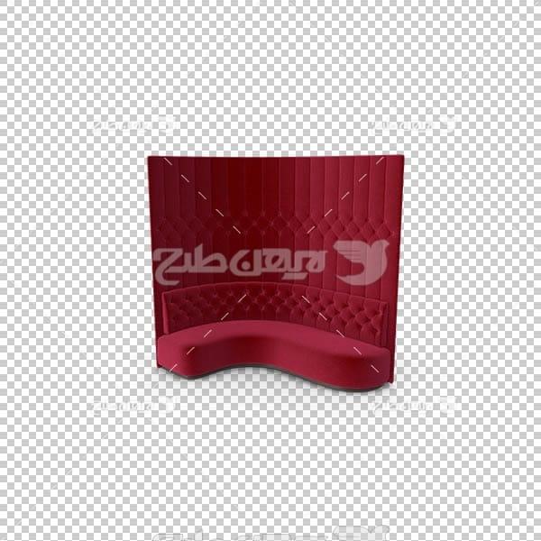 تصویر سه بعدی دوربری مبل صاف قرمز مخملی