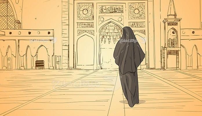 وکتور کاراکتر نقاشی زن با حجاب در زیارتگاه