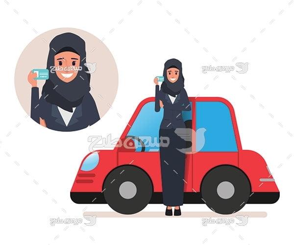 وکتور کاراکتر زن با حجاب و گواهینامه رانندگی