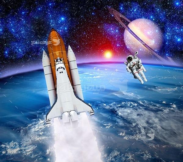 عکس فضاپیما ، فضا نورد، سیاره زمین و مشتری