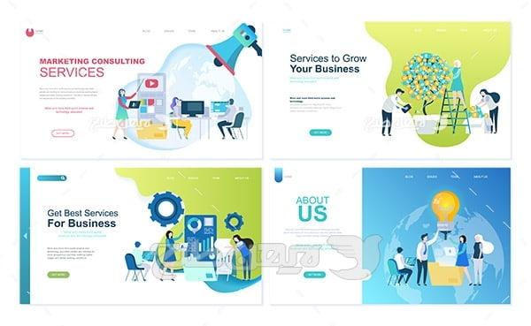 وکتور اسلایدر و هدر وب سایت ویژه تجارت ، سرویس و درباره ما