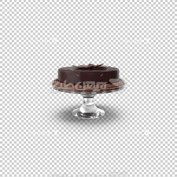 تصویر سه بعدی دوربری کیک شکلاتی