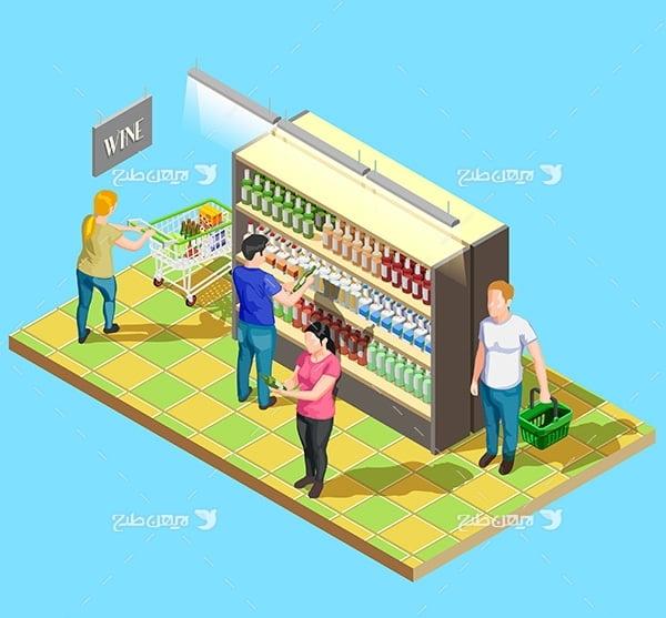 طرح وکتور سه بعدی فروشگاه مواد غذایی