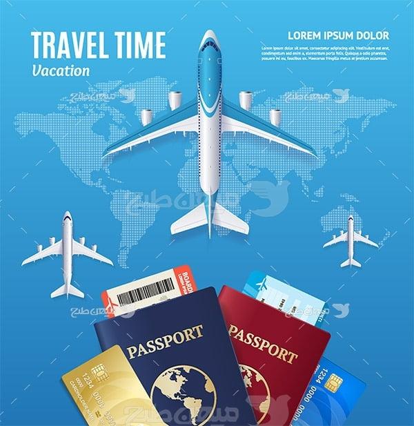 وکتور هواپیما و پاسپورت