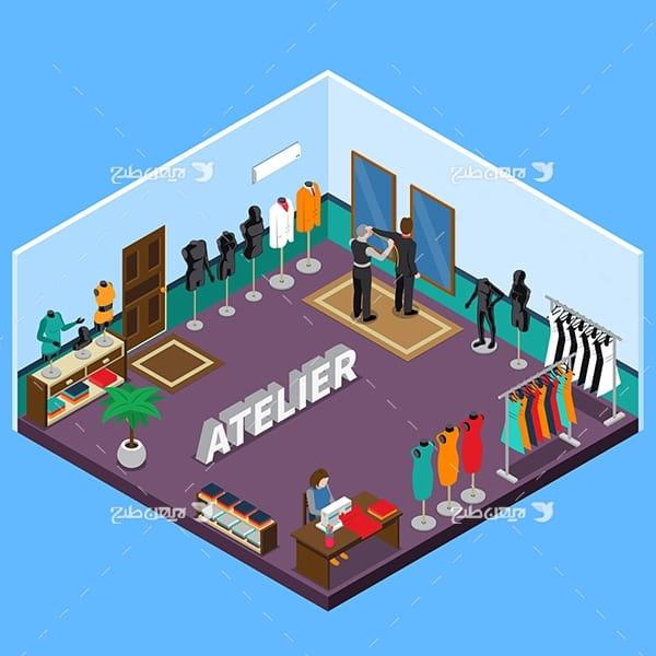 طرح وکتور سه بعدی ساختمان تولید و مدل های لباس