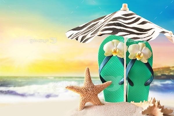 عکس دمپایی و ستاره دریایی
