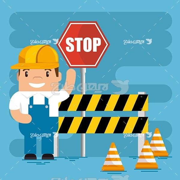 کارگر صنعتی و تابلو توقف