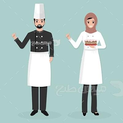 وکتور کاراکتر حجاب سرآشپز