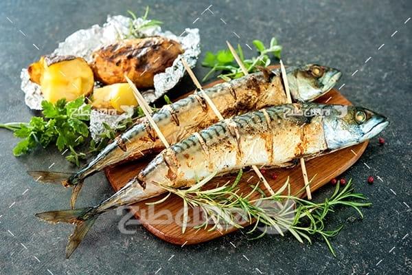 ماهی,ماهی کبابی,غذای ماهی سبزیجات