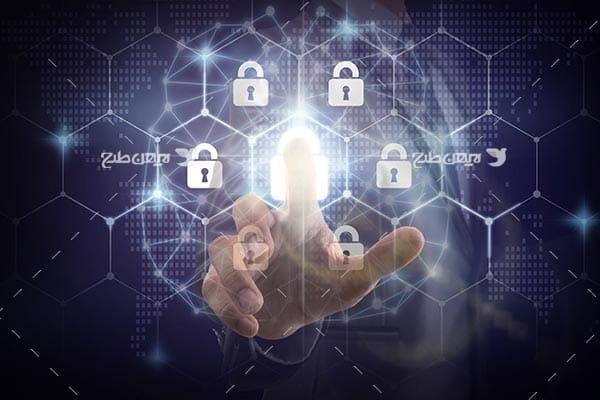 تصویر از قفل و امنیت در فضای سایبری و اثر انگشت