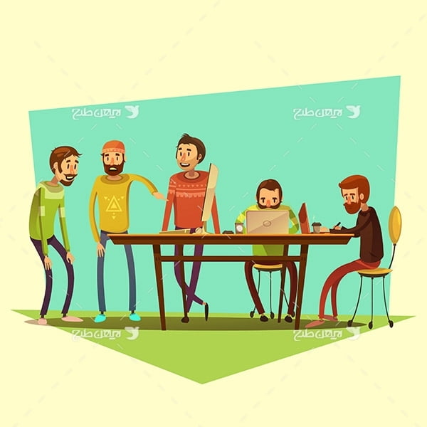 طرح وکتور گرافیکی کارکتر انسان با موضوع جلسه و آموزش