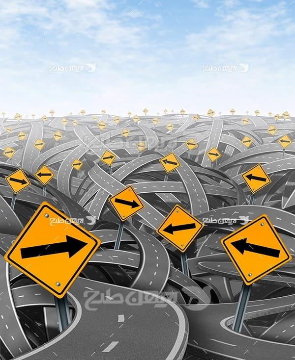 تصویر جاده سه بعدی و پیچ در پیچ و علائم ترافیکی