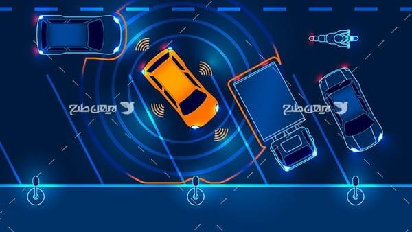 طرح وکتور گرافیکی با موضوع خودروهای هوشمند