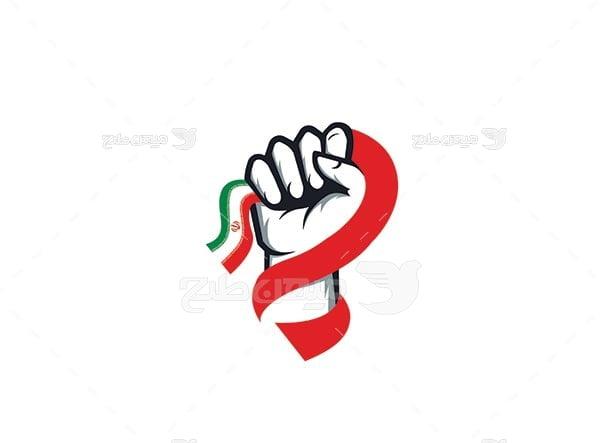وکتور پرچم ایران در دست
