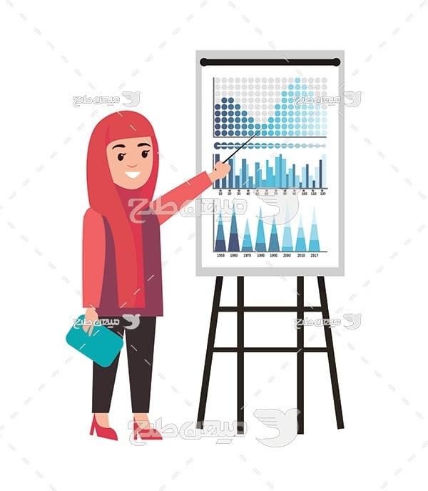 وکتور کاراکتر زن با حجاب و آموزش