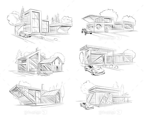 طرح گرافیکی وکتور - اسکیج خانه و ساختمان