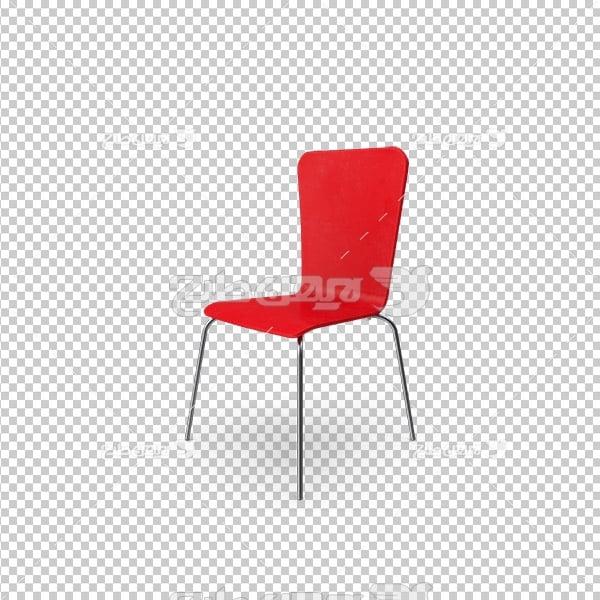 تصویر دوربری سه بعدی صندلی قرمز