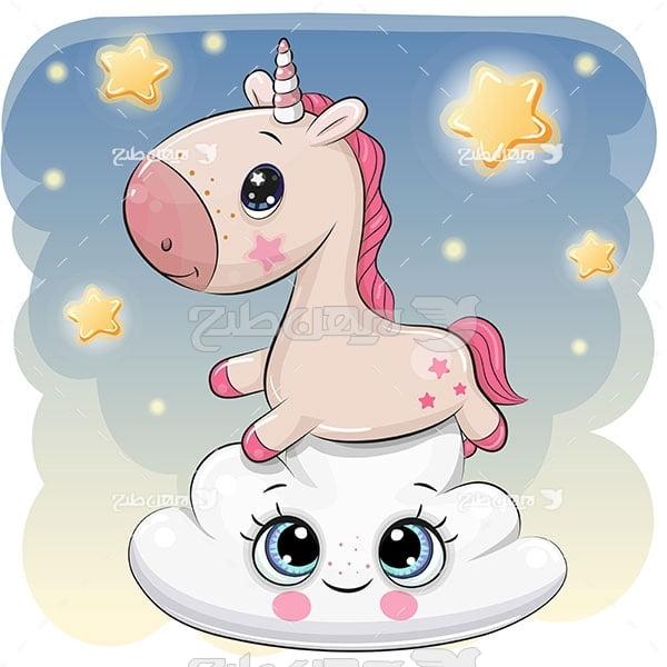 وکتور اسب ، ستاره و ابر