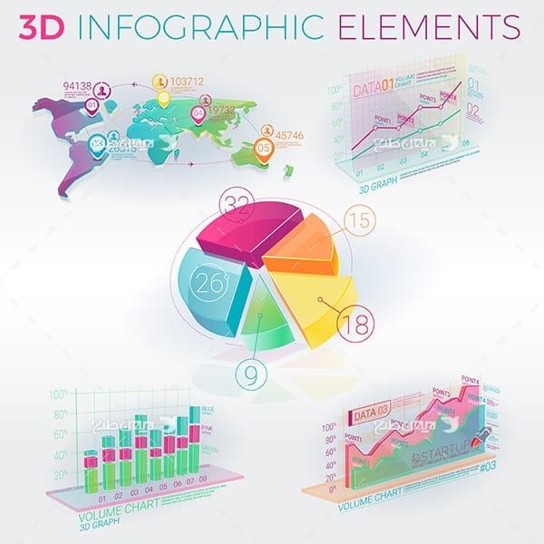 طرح وکتور گرافیکی اینفو به شکل آمار سه بعدی