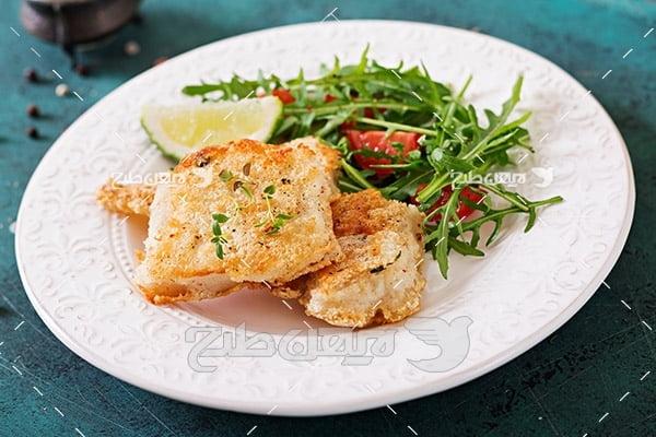 عکس ماهی کباب و سبزیجات