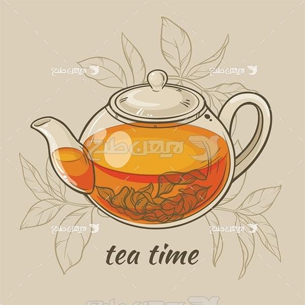 وکتور قوری و چای
