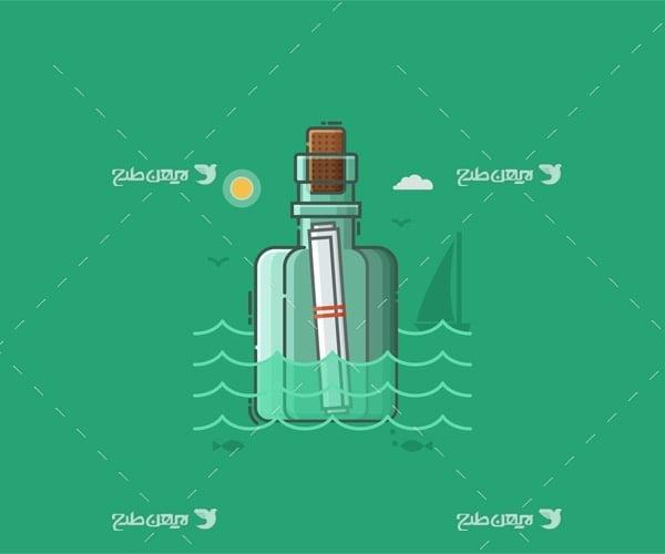 وکتور گرافیکی بطری و نامه در دریا