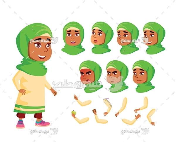 وکتور کاراکتر و بدن زن با حجاب