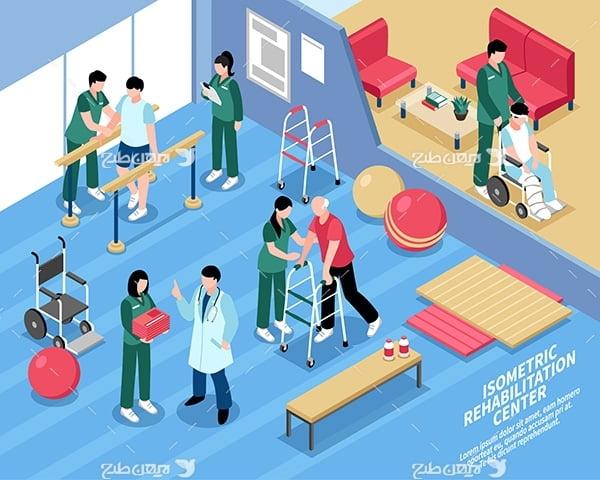 طرح وکتور سه بعدی ساختمان بیمارستان و درمان افراد ناتوان