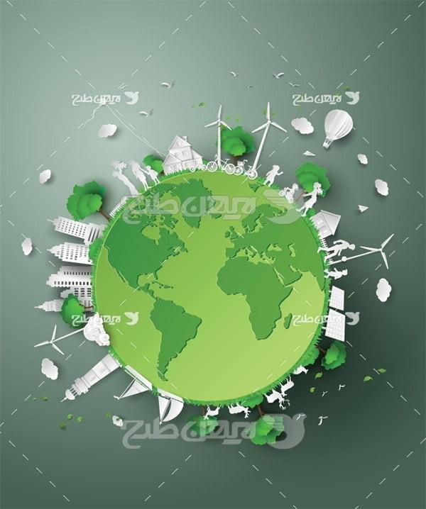 وکتور محیط زیست و کره زمین