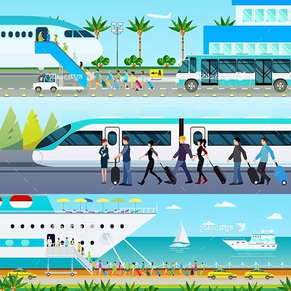 طرح وکتور گرافیکی با موضوع قطار و کشتی تفریحی