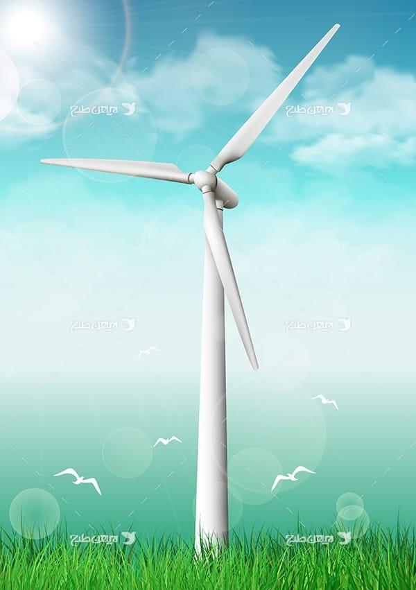 طرح وکتور صنعتی توربین ذخیره برق و انرژی باد