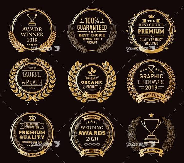 لوگو طلایی با خوشه گندم