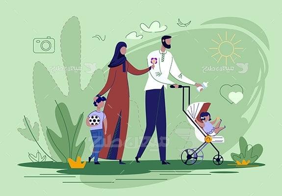 وکتور کاراکتر حجاب خانواده در فضای باز