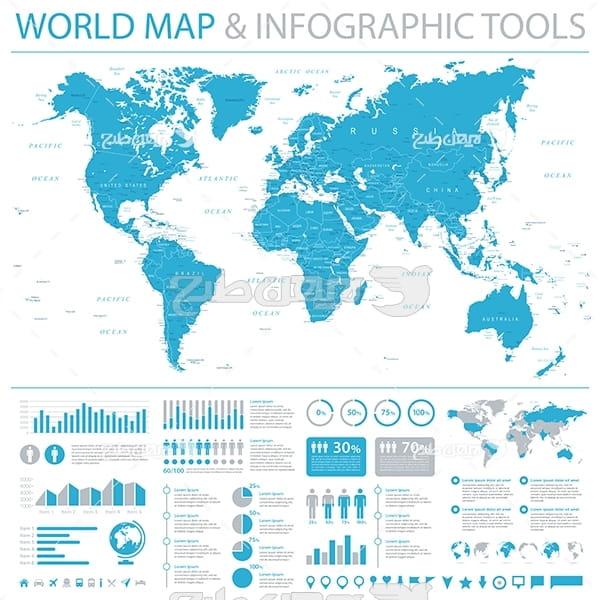 وکتور نقشه قاره های زمین