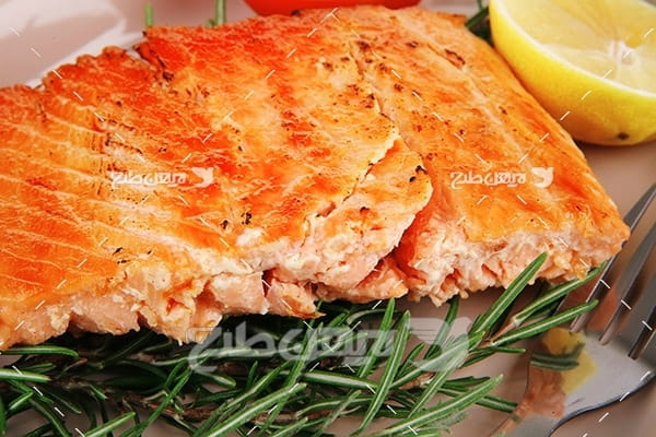 ماهی،گوشت ماهی,غذای کباب ماهی سبزیجات لیمو