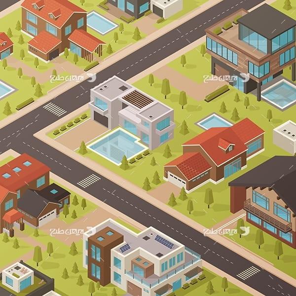 طرح گرافیکی وکتور سه بعدی شهر