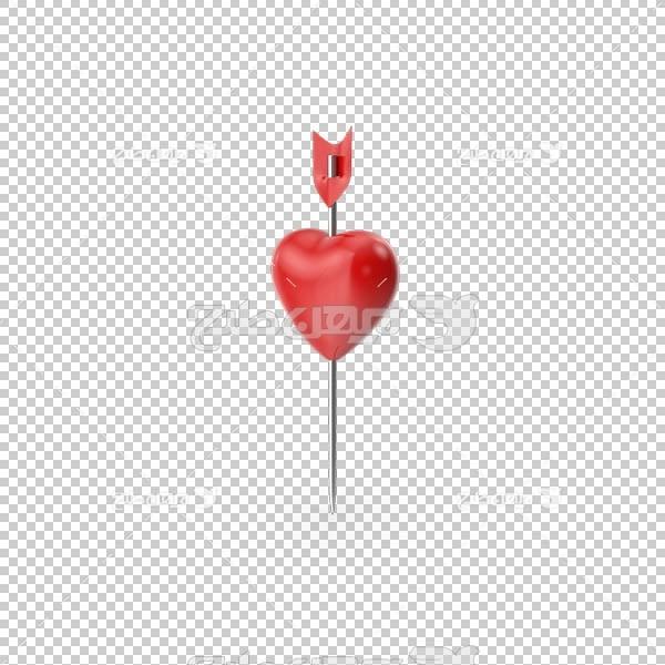 تصویر سه بعدی دوربری پین قلب قرمز