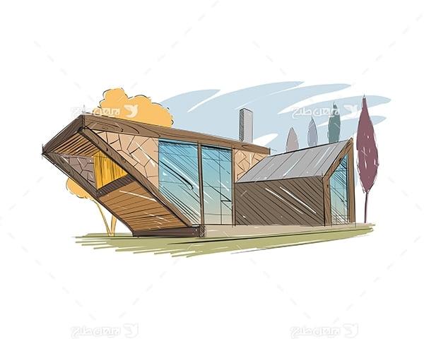 طرح گرافیکی وکتور اکسیج نقاشی سه بعدی خانه