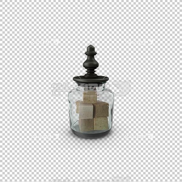 تصویر سه بعدی دوربری ظرف شیشه ای در بسته