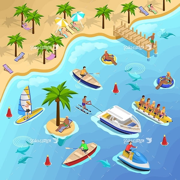 طرح وکتور گرافیکی با موضوع مسافرت ساحلی ، جزیره و قایق های تفریحی