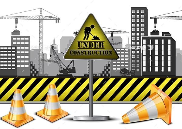 وکتور در حال ساخت و ساز و کله قندی ترافیک