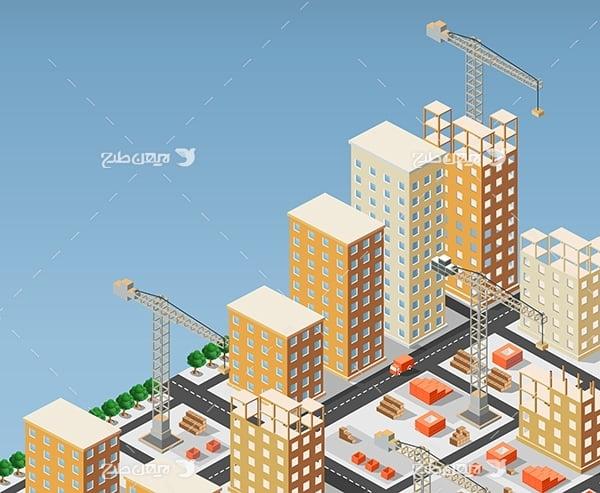 طرح گرافیکی وکتور سه بعدی شهر و ساختمان